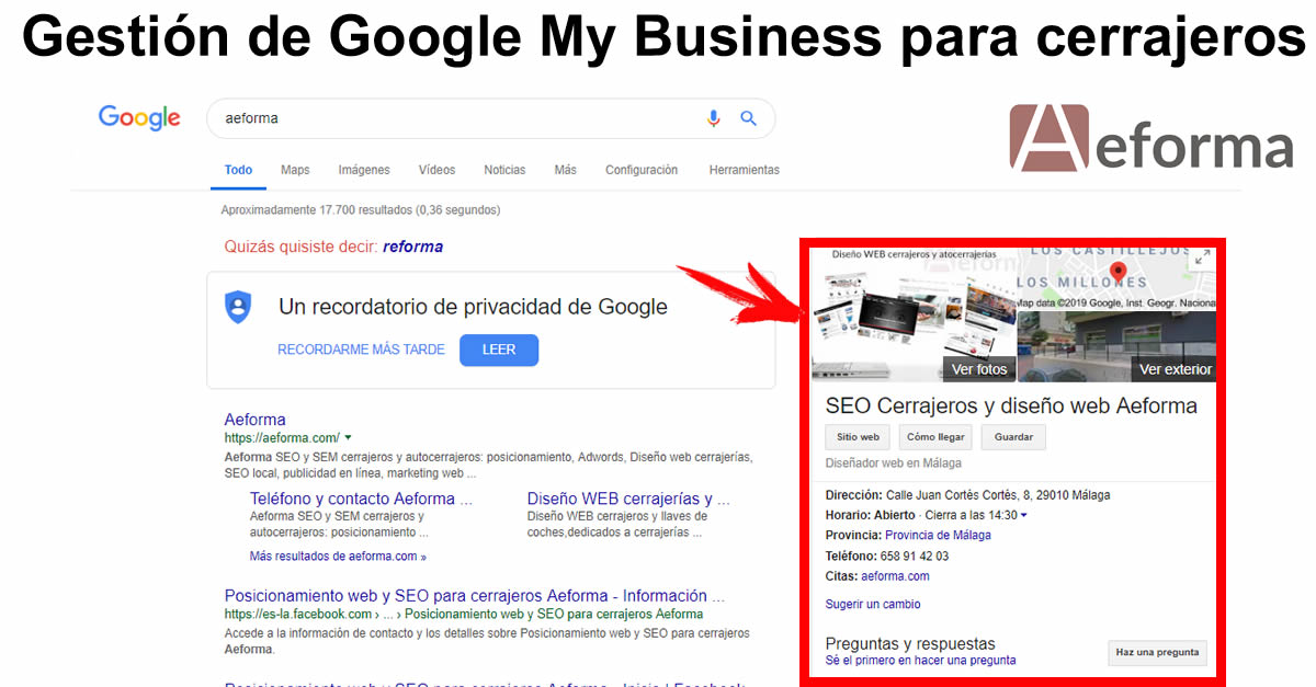 gestion google my business cerrajeros aeforma