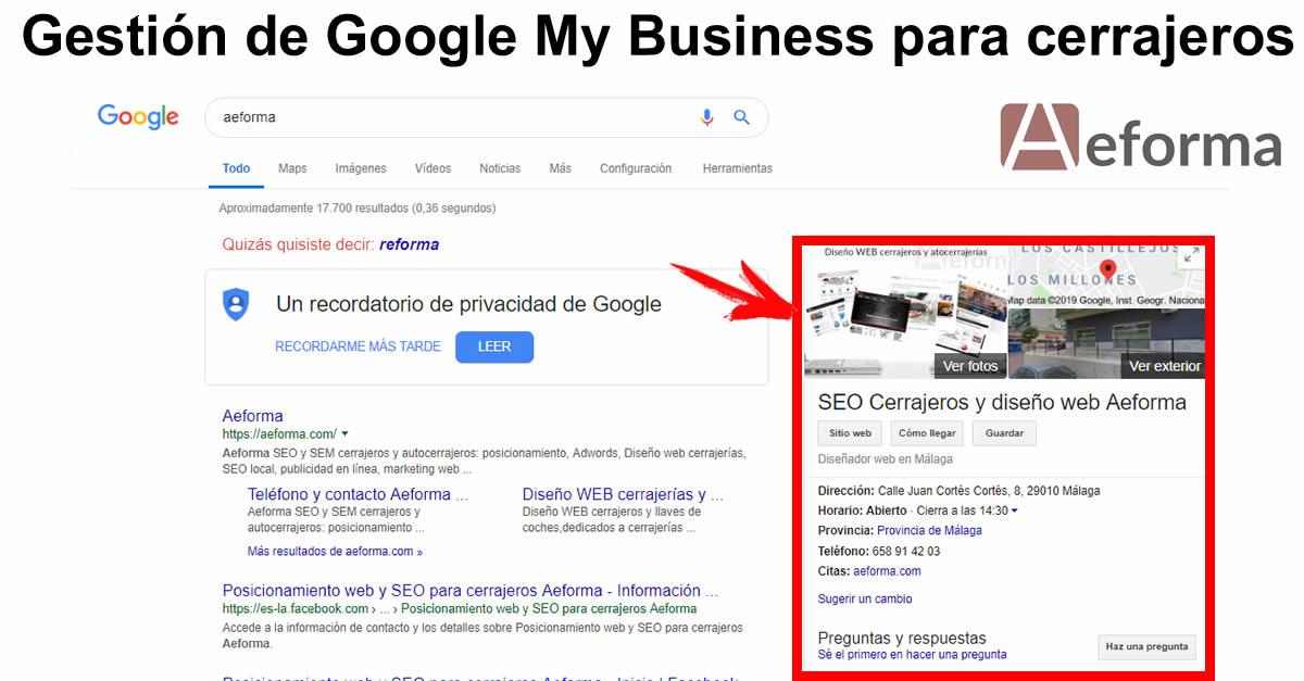 gestion google my business cerrajeros aeforma
