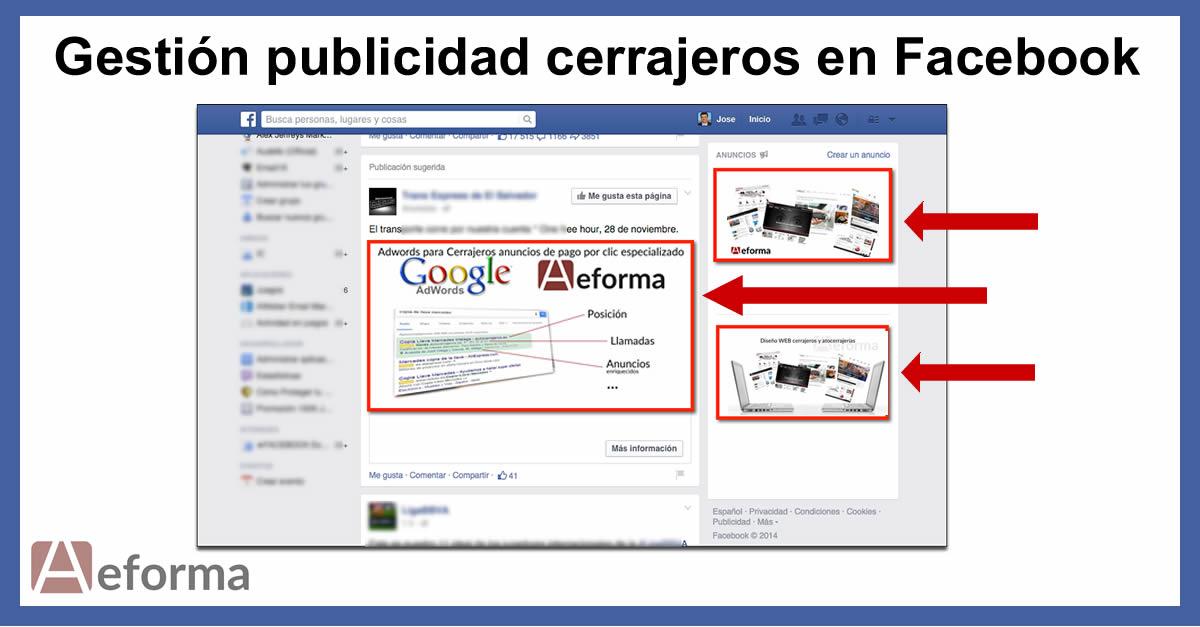 gestion publicidad facebook cerrajeros autocerrajeros aeforma
