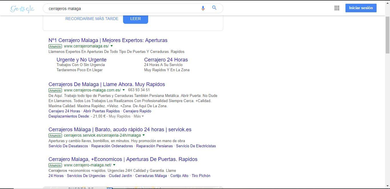 google adwords cerrajeros campaña busqueda