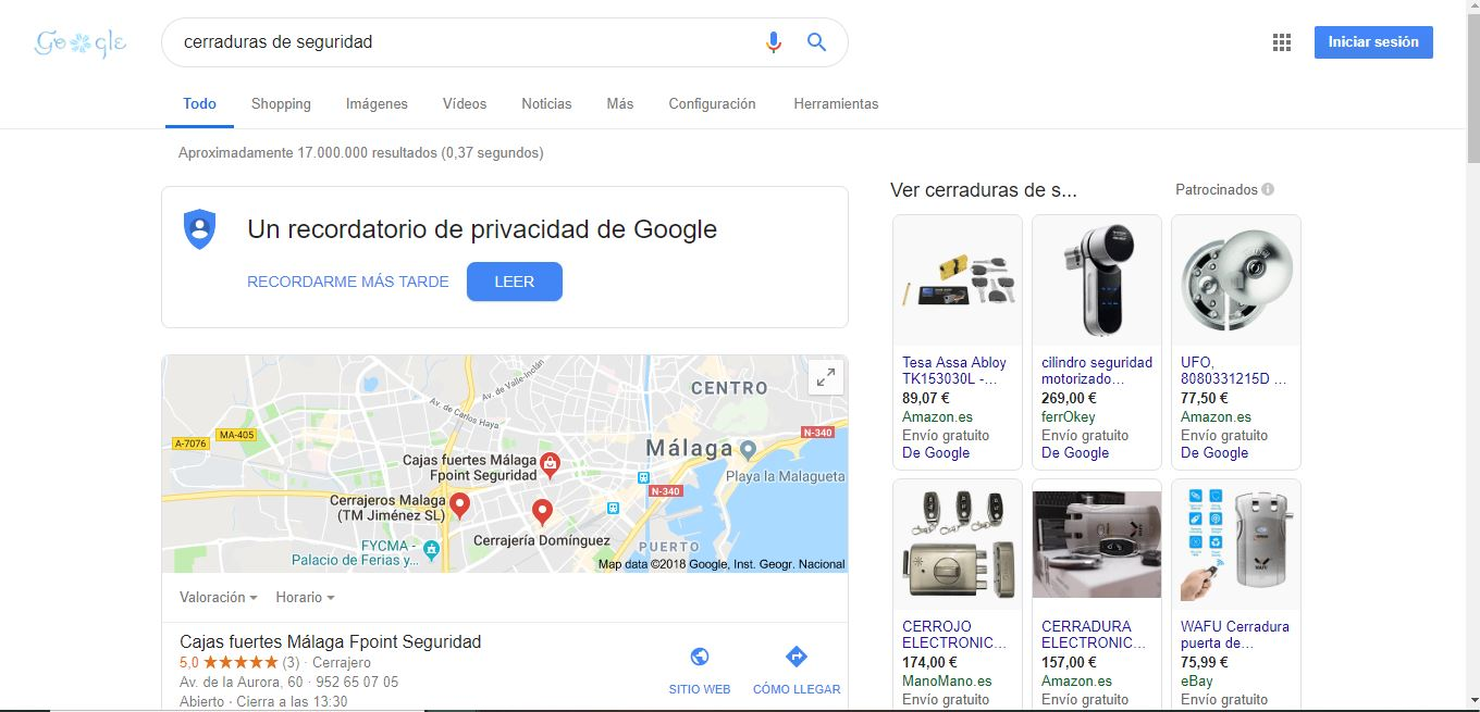 google adwords cerrajeros campaña shopping