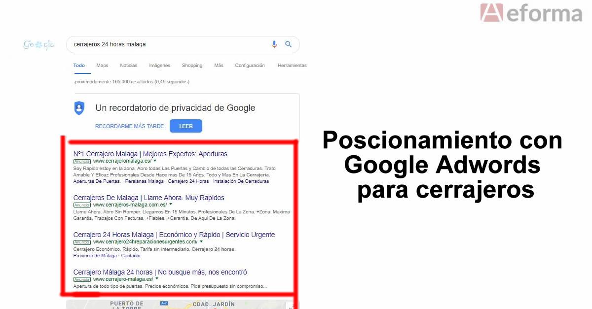 posicionamiento google adwords cerrajerias autocerrajerios aeforma