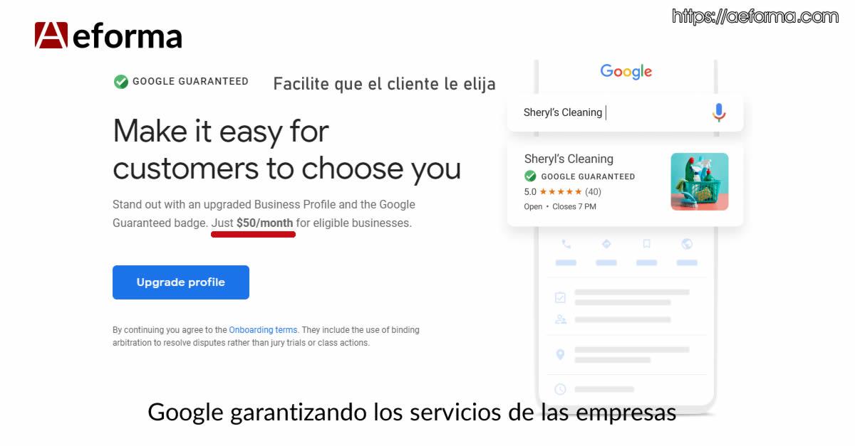 google garantizando servicios de las empresas